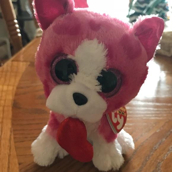 "TY BEANIE PUPPY DOG WITH HEART ""ROMEO"" BRAND NEW 307b6644617b"